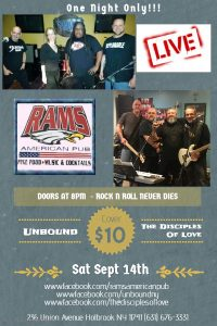 Unbound & The Disciples of Love-Live! @ Rams American Pub